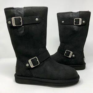 UGG Australia Boots Sutter Mid Black Leather Moto